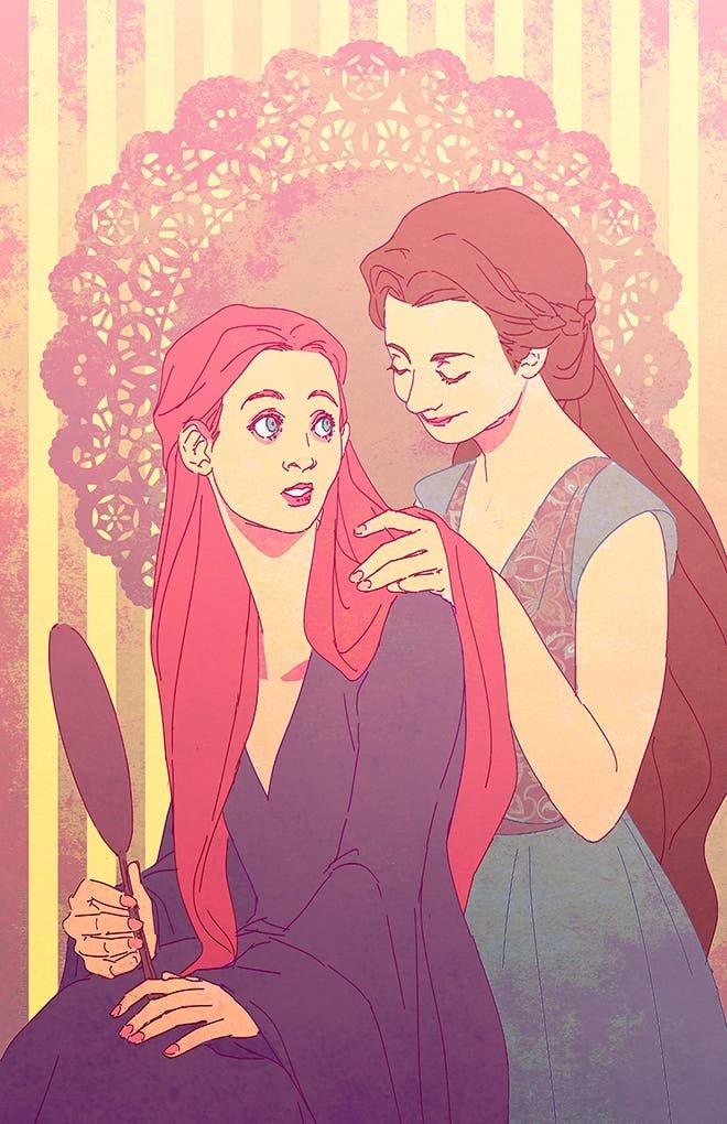 Sansa y Margaery ilustración iamcoyfish
