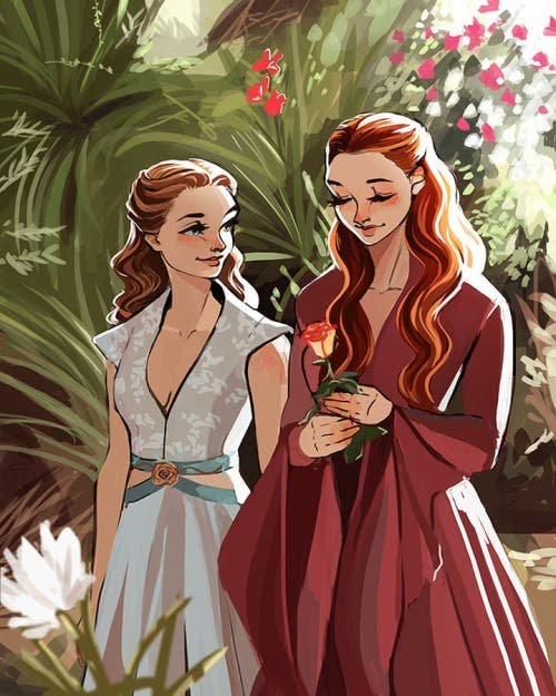 Sansa y Margaery ilustración
