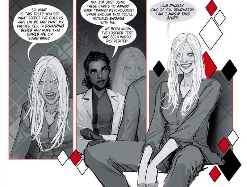 Harley Quinn hablando con su psiquiatra