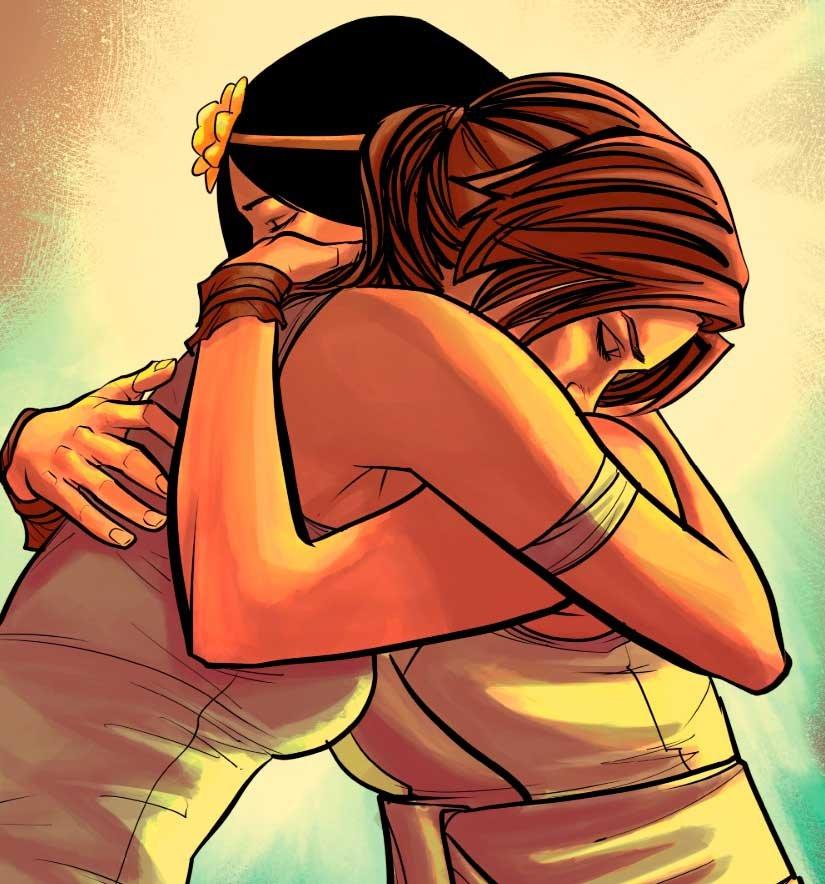 Sam y Lara Croft abrazándose