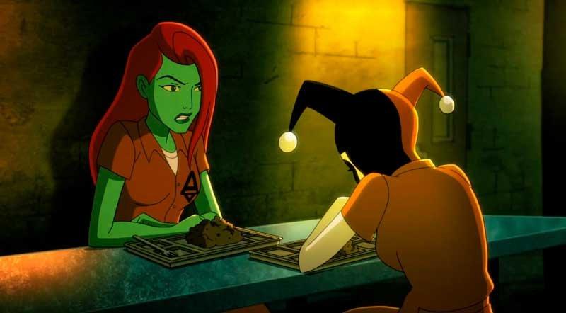 Harley Quinn y Poison Ivy comiendo en Arkham