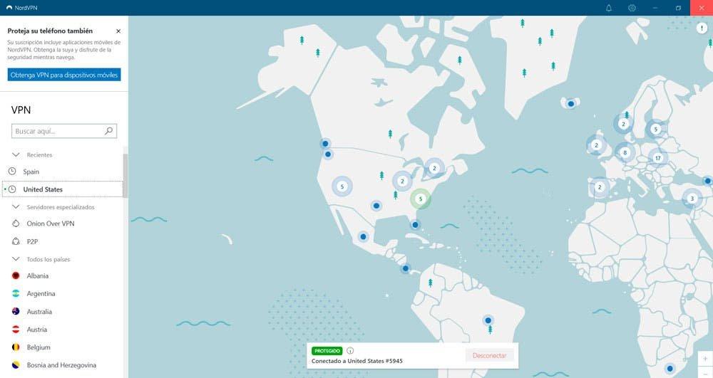 Mapa de conexiones de NordVPN